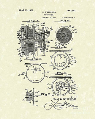 Fishing Reel 1928 Patent Art Poster by Prior Art Design