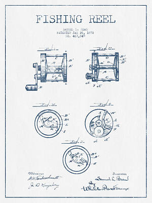Fishing Reel Patent From 1892 - Blue Ink Poster by Aged Pixel