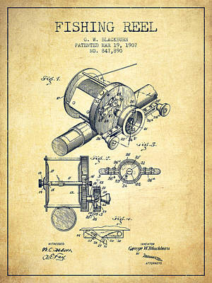 Fishing Reel Patent From 1907 - Vintage Poster