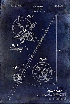 Fishing Reel Patent 1939 Blue Poster by Jon Neidert