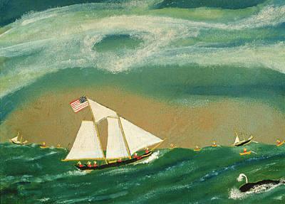 Fishing Schooner Josephine On The Grand Banks Poster