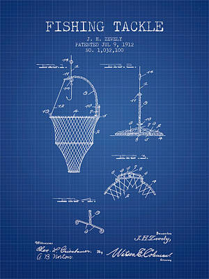 Fishing Tackle Patent From 1912 - Blueprint Poster by Aged Pixel