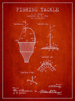 Fishing Tackle Patent From 1912 - Red Poster by Aged Pixel