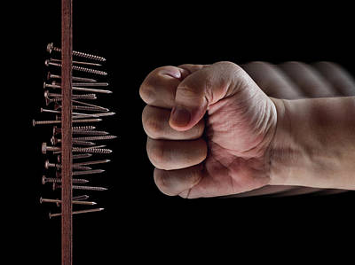 Fist Hitting Nails And Screws Poster by Ktsdesign