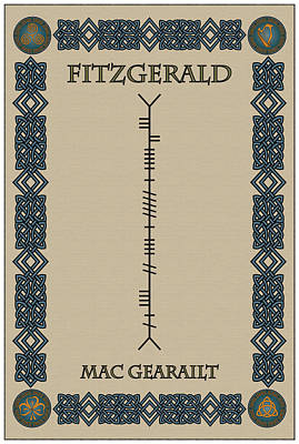 Fitzgerald Written In Ogham Poster by Ireland Calling