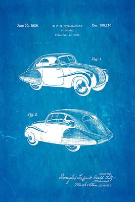 Fitzmaurice Automobile Patent Art 1936 Blueprint Poster