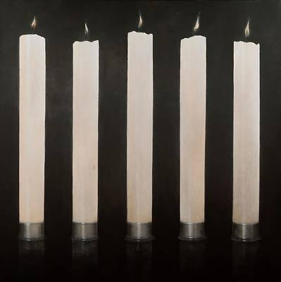 Five Candles, Sri Lanka, 2012 Acrylic On Canvas Poster by Lincoln Seligman