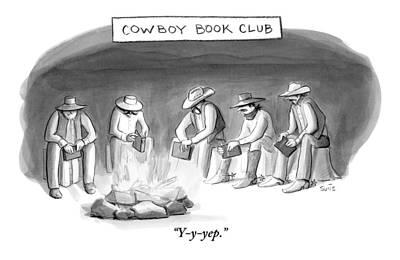 Five Cowboys Sit Around A Campfire. Each Cowboy Poster by Julia Suits