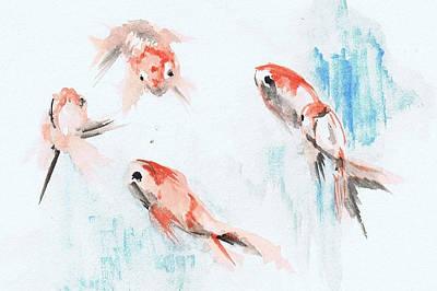 Five Goldfish Poster