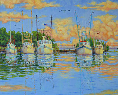 Five Low Country Boats Poster