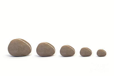 Five Pebbles Against White Background Poster