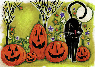 Five Pumpkins Poster by Anne Tavoletti