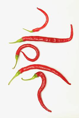 Five Red Jalapeno Peppers That Poster by John Short