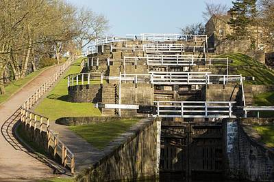 Five Rise Locks In Bingley Poster by Ashley Cooper