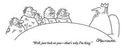 Five Scruffy Looking Men Sit At A Round Table Poster by Charles Barsotti