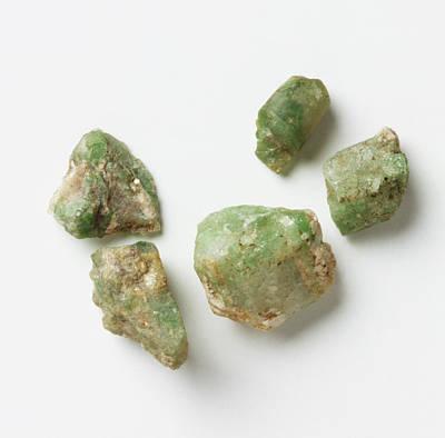 Five Unpolished Emerald Rocks Poster