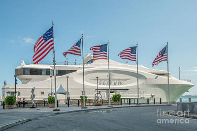 Five Us Flags Flying Proudly In Front Of The Megayacht Seafair - Miami - Florida Poster