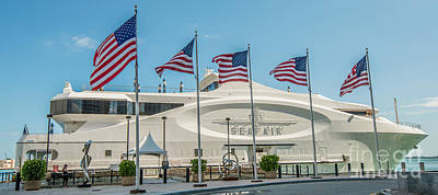 Five Us Flags Flying Proudly In Front Of The Megayacht Seafair - Miami - Florida - Panoramic Poster