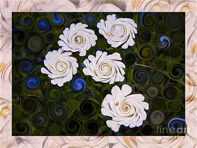 Five White Flowers In An Abstract Garden Poster
