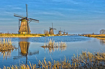 Poster featuring the photograph Five Windmills At Kinderdijk by Frans Blok