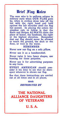 Flag Etiquette, 1925 Poster