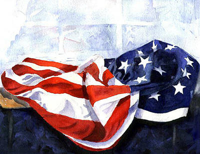 Flag In  The Window Poster by Suzy Pal Powell
