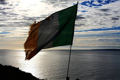 Flag Of Ireland At The Cliffs Poster