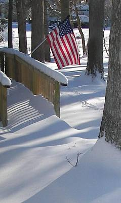 Flag Over Morning Snow Poster