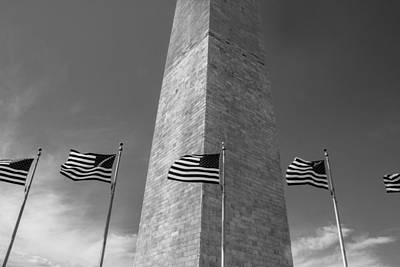Flags At Washington Monument  Poster