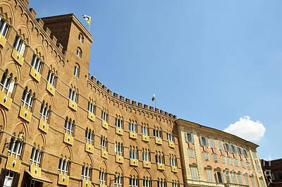 Flags On Building On Piazza Del Campo Poster by Sami Sarkis