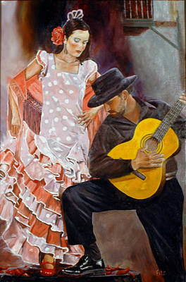 Poster featuring the painting Flamenco Charm by Rick Fitzsimons