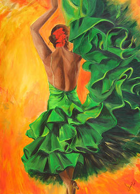 Flamenco Dancer In Green Dress Poster by Sheri  Chakamian