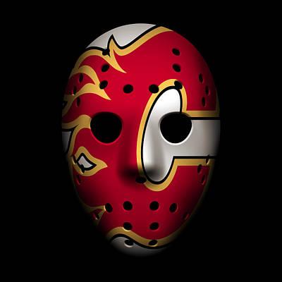 Flames Goalie Mask Poster by Joe Hamilton