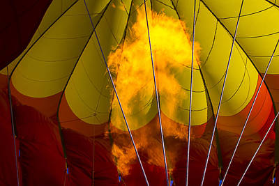Flames Heating Up Hot Air Balloon Poster by Garry Gay
