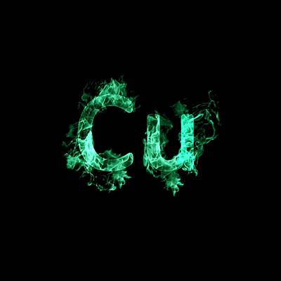 Flaming Copper Symbol Cu Poster by Science Photo Library