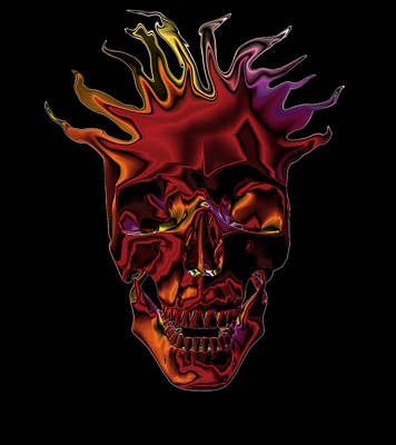 Flaming Skull Poster by Denise Beverly
