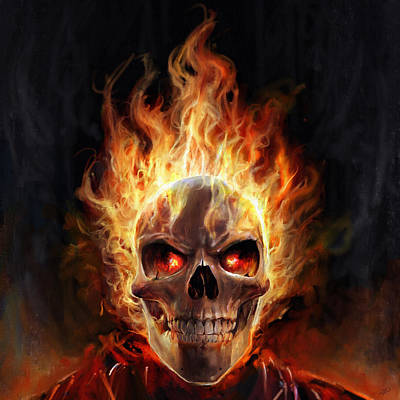 Flaming Skull Poster by Steve Goad