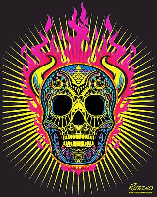 Flaming Skull Poster by Tony Rubino