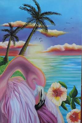 Poster featuring the painting Flamingo Sunset by Dianna Lewis
