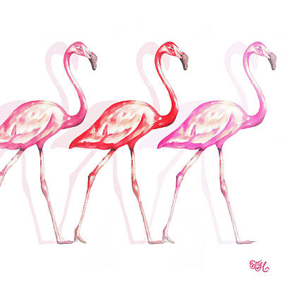 Flamingo Trio I Poster by Tiffany Hakimipour