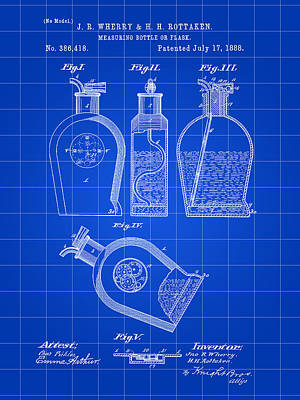 Flask Patent 1888 - Blue Poster by Stephen Younts