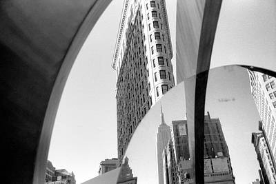 Poster featuring the photograph Flat Iron Building Empire State Mirror by Dave Beckerman