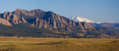 Flatirons And Snow Covered Longs Peak Panorama Poster