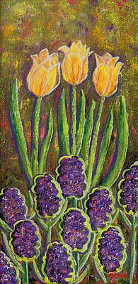 Fleurs D' Tulips And Hyacinths Poster by Margaret Bobb