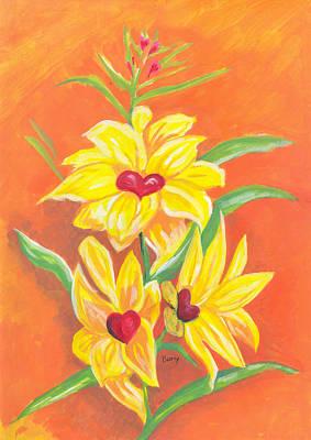 Fleurs D'amour Poster by Emmanuel Baliyanga