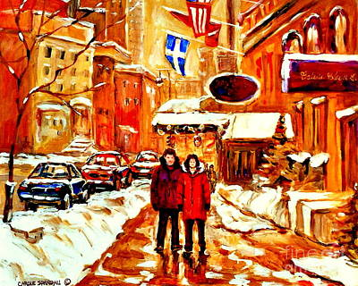 Fleurs De Lys Flag Rue Sherbrooke Ritz Carlton Hotel Montreal Paintings Quebec Winter City Scene Poster by Carole Spandau