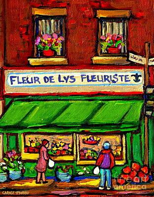 Fleurs De Lys Fleuriste Depanneur Fruits And Legumes Shops And Stores Carole Spandau Montreal Scenes Poster by Carole Spandau