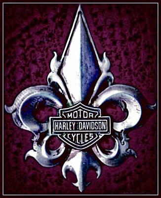 Fleurs De Lys With Harley Davidson Logo Poster by Danielle  Parent