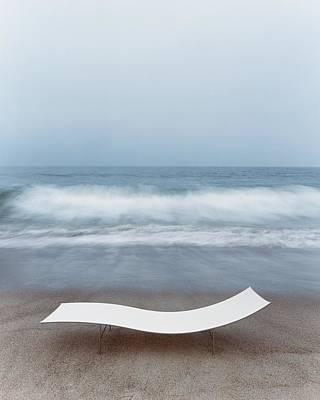 Flexy Batyline Mesh Curve Chaise On Malibu Beach Poster