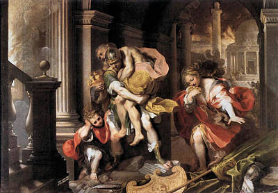 Flight Of Aeneas From Troy Poster by Frederico Barocci